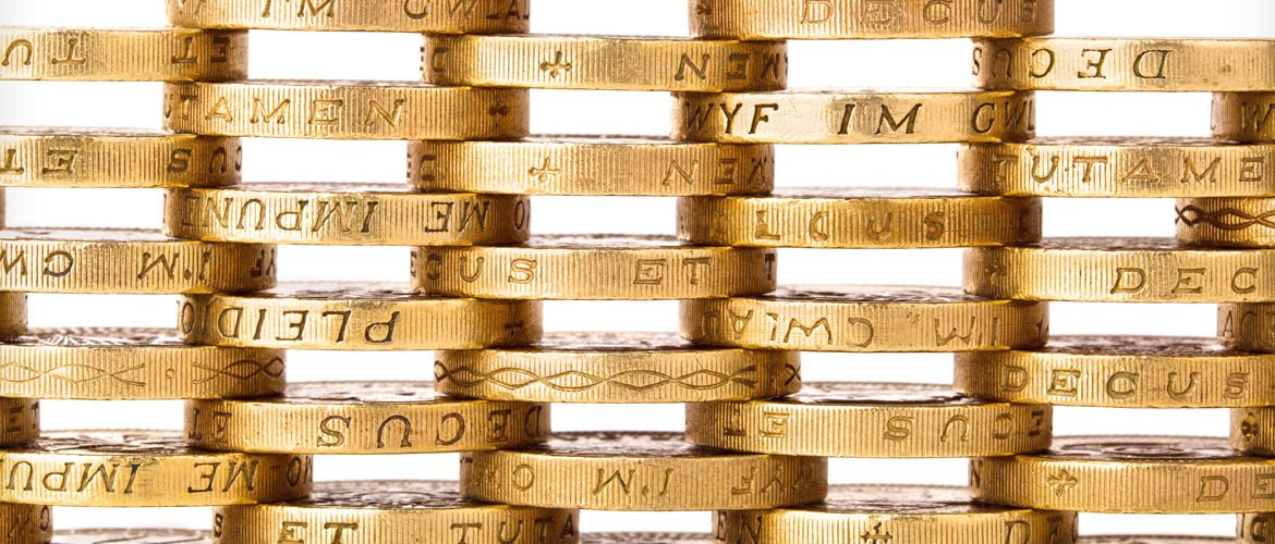 Pound coins in a stack